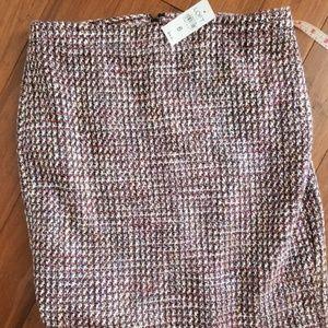 NWT Loft Red / White / Black Tweed Skirt Sz 6